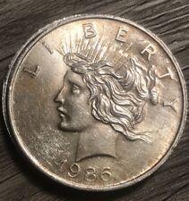 US PEACE DOLLAR ROUND 1oz SILVER BULLION COIN 1986