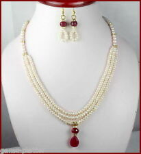 199+ Ct Unique Designer Natural Ruby Pearl Beaded Necklace W Ear-rings~ Pearl Lk