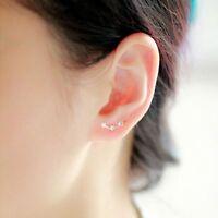 Hot Fashion Lady Women Ear Triple Stars Stud Earrings Sterling Silver Plated