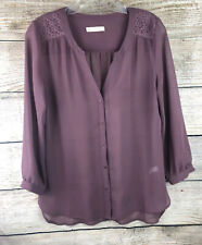 Hinge Blouse Sheer Button Up Top Shirt Lace Panel XS Career Wear Free Shipping