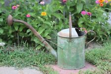 Antique Early 20thC Green Paint Tin & Copper Gooseneck Watering Can ~ Signed L B