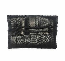NEW Premium Double Knot Clutch Leather Bag In Timeless BLACK