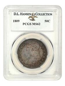 1809 50c PCGS MS62 ex: D.L. Hansen - Bust Half Dollar - Richly Toned
