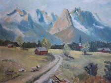 GERMAN ARTIST( E. WLOMER) 1957 ALPINE, DECTSCHLAND: ORIGINAL OIL ON CANVAS