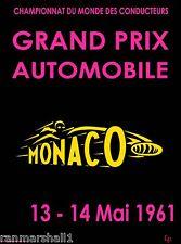 1961 Monaco Grand Prix Automobile Race Car Advertisement Vintage Poster