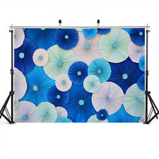 5X3ft Photo Backdrops Blue Paper Flowers Backgrounds for Baby Kid Birthday Party