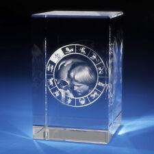 3D Laser Crystal Glass Etched Engraving Stand Zodiac Aquarius Portrait S