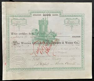 WESTON ELECTRIC LIGHT, POWER & WATER CO Stock 1896 WV. Edison Generator RARE VF+
