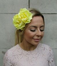Large Lemon Yellow Double Rose Flower Hair Clip Floral 1940s Fascinator 0425