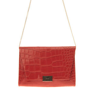 OLGA BERG Clutch Bag PVC Leather Croc Embossed Chain Strap Magnetic Flap Closure