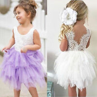 Toddler Kids Baby Girls Princess Lace Tutu Dress Formal Party Pageant Bridesmaid