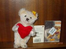"Steiff Teddy ""I love you"", ca. 13 cm, neu, mit Etikett, 002885, Mohair creme I"