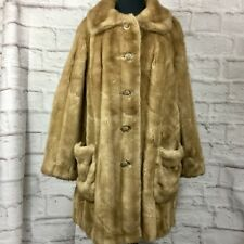 Vintage Grandella Women 16 Faux Fur Leather Long Coat