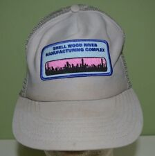 Vintage Shell Wood River Manufacturing Complex Patch Mesh Trucker Hat Snapback