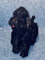 "7"" ANTIQUE STEIFF MOHAIR DOG PUPPY VINTAGE GERMANY GERMAN DOLL BLACK POODLE OLD"