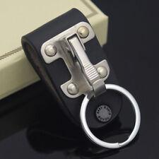 1xStainless Steel Men Leather Detachable Key Chain Belt Clip Ring Holder Keyring