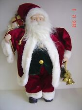 """New Santa Beard 18"""" Collect Old Fashioned Holly Velvet Coat Bells Rings Gifts"""