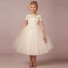 Flower Girl Princess Dress Kids Pageant Wedding Bridesmaid Heart Cutout Dresses