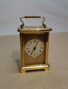 H Samuel 8 Day Brass Carriage Clock - Duverdrey and Bloquel France 7 Jewels