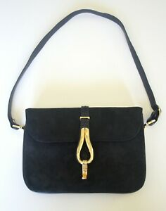 Elegant Vintage Black Suede Shoulder Bag by Lederer De Paris