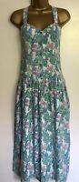 1980s Vintage Anokhi Green Blue And Purple Floral Cotton Drop Waist Dress S 8 10