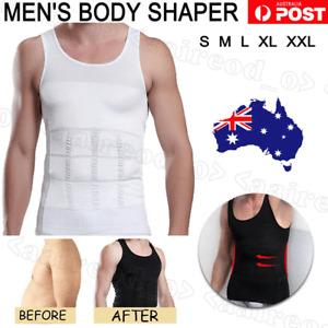 Mens Slimming Body Shaper Underwear Corset Compression Vest Singlet Dad Shirt Oz