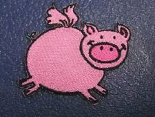 Chubby Pink Flying Pig Embroidered Iron On Patch