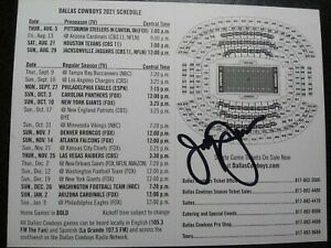 JERRY JONES Hand Signed Autograph 2021 FOOTBALL SCHEDULE - DALLAS COWBOYS OWNER