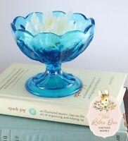 Vintage Light Blue Glass Pedestal Scallop Compote Candy Dish