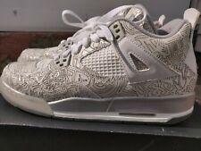 Air Jordan IV 4 Retro Laser White Chrome Metallic Silver Size 7Y GS Sneakers