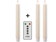 3er Set SOMPEX Flame LED - Echtwachs Stabkerzen 2,5x23 elfenbein & FB 38130