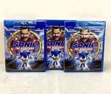 Lot Of 3 Sonic The Hedgehog Blu-ray Discs DVD And Digital New With Slip Covers