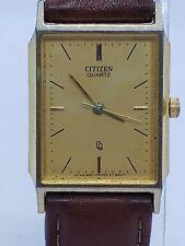 Citizen Quartz Watch Gold Tone Brown Leather 6031-T20930 KT Womens
