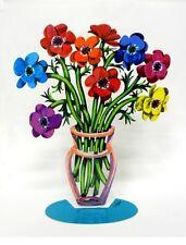 David Gerstein Modern Metal Art Sculpture Poppies Flower Vase small Laser cut