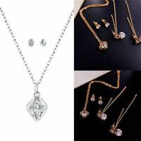 Zircon Fashion Pendant Earrings Crystal for Set Jewelry Girl Stud Necklace Women