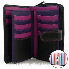 Quality Ladies Soft Leather Purse Wallet by Visconti Designer Black Berry Boxed
