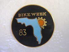 Vintage motorcycle pin biker trucker pinback   Daytona Bike Week '83