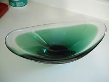 "Large 14"" Flygsfors Coquille Green Bowl Vase Signed"
