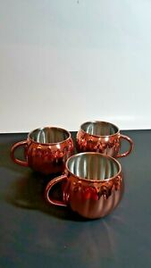 Set of 3 Fall Into Autumn Pumpkin Mugs stainless steel/copper Single Wall