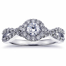 0.85 CT Diamond Halo Engagement Ring in Platinum Braided Setting NEW