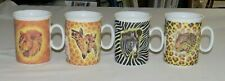 Email de Limoges FOUR 3.75 inch Porcelain Mugs - Giraffe Lion Leopard Zebra