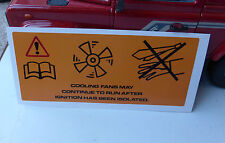 Land Rover Defender Discovery AC Cooling Fan Cowl Warning Decal Sticker MXC2931