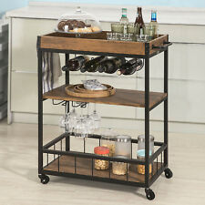 SoBuy Industrial Vintage Wood Metal 3 Tiers Kitchen Serving Trolley FKW56-N,UK