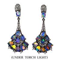 Unheated Oval Fire Opal Rainbow Full Flash 5x4mm Cz 925 Sterling Silver Earrings