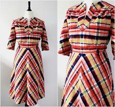 Vintage 1970s Midi Dress RETRO Rockabilly Chevron Boho Chic Kitsch MOD Dress M