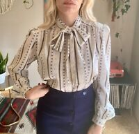 80s women's vintage abstract print tie front secretary blouse Boho Small