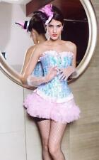 Sexy Women's Pink with Blue  Swirls Corset Elegant Ladies Overbust Underwear