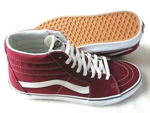 Vans Men's Sk8-Hi Rumba Red True White Canvas Suede Skate shoes Size 10 NWT
