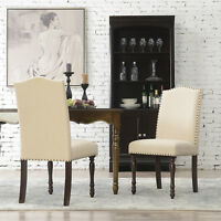 Elegant Set of (2) Parson Chair Linen Seat Cushion Dining Chairs, Beige / Gray