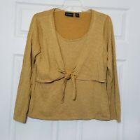 Bay Studio Career Women's Blouse ~ Sz XL ~ Gold ~ Long Sleeve
